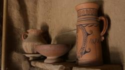 Detalle del interior de una vivienda celtíbera reconstruida