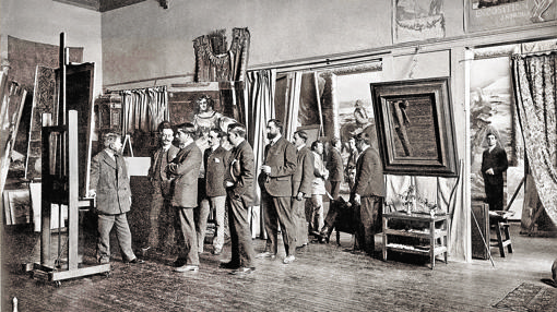 Sorolla, mostrando su obra a un grupo de amigos (1906), de Christian Franzen