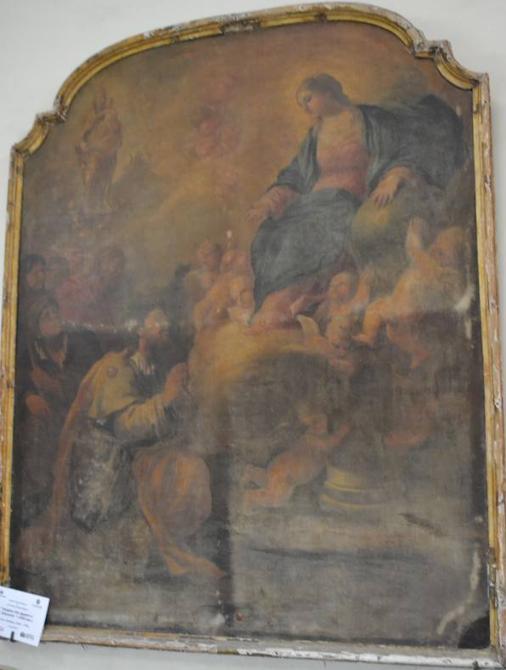 El Lucas Jordán con pérdidas de capa pictórica, suciedad y daños graves en el marco