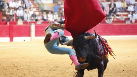 Momento de la cornada a Curro Díaz