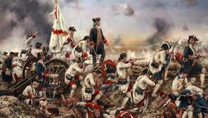 Escena de la toma de Pensacola, en «Por España y por el Rey, Gálvez en América», de Augusto Ferrer Dalmau