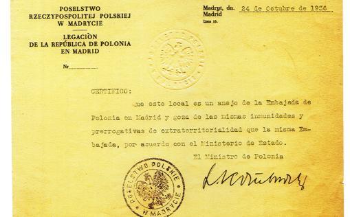 El documento, firmado por el Gobierno polaco, que garantizaba la inmunidad del edificio