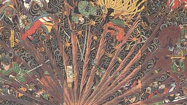 Ilustración del «Taiheiki» realizada por el artista japonés Tsukioka Yoshitoshi (1839-1892)