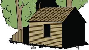 La cabaña de la laguna Walden donde vivió Thoreau. La ilustración es de David Sánchez