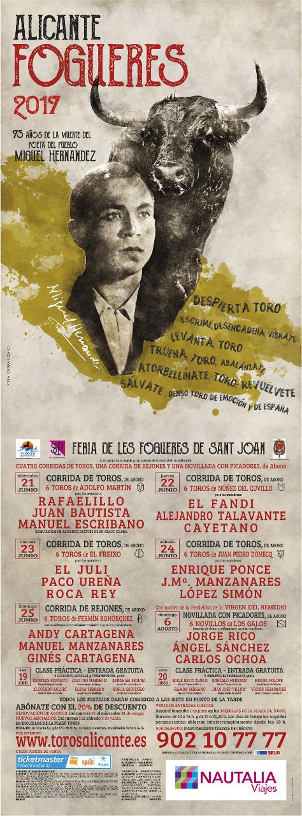 La Feria de Alicante llama «al toro de España» de Miguel Hernández