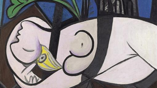 Detalle de «Desnudo, hojas verdes y busto», de Pablo Picasso