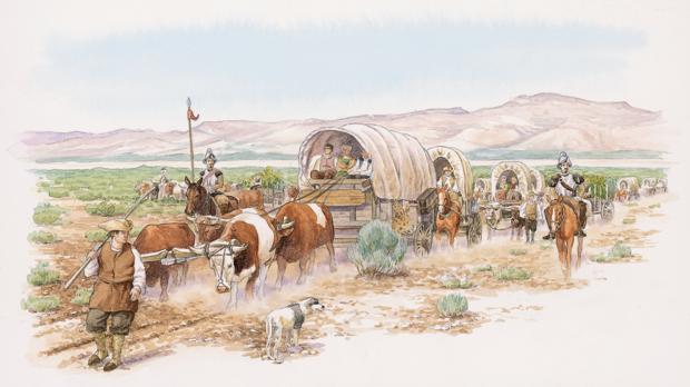 Ilustración de la caravana del Camino Real de Tierra Adentro
