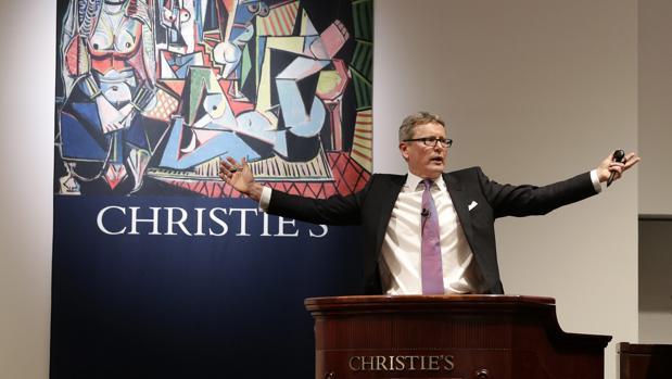 Jussi Pylkkänen, durante la venta en 2015 de «Las mujeres de Argel (Versón O»), de Picasso, la obra más cara vendida en subasta: 179,3 millones de dólares