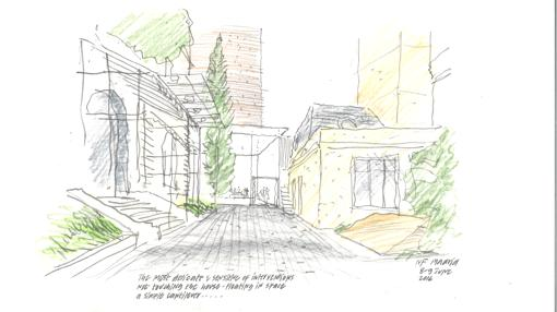Boceto del proyecto para el pabellón de la Fundación Foster en Madrid