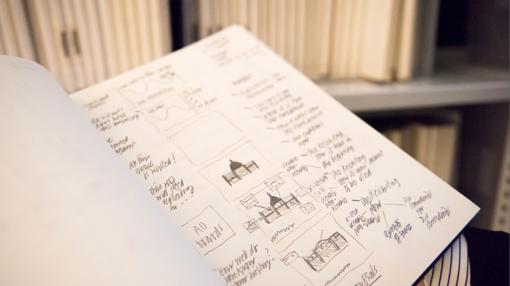 Uno de los cuadernos de dibujo de Norman Foster