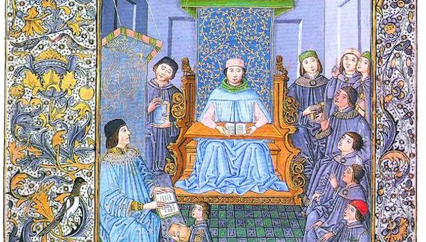 Elio Antonio de Nebrija con sus alumnos en un grabado de la época