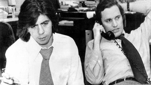Los periodistas Carl Berstein (a la izquierda) y Bob Woodward, quienes destaparon el escándalo Watergate