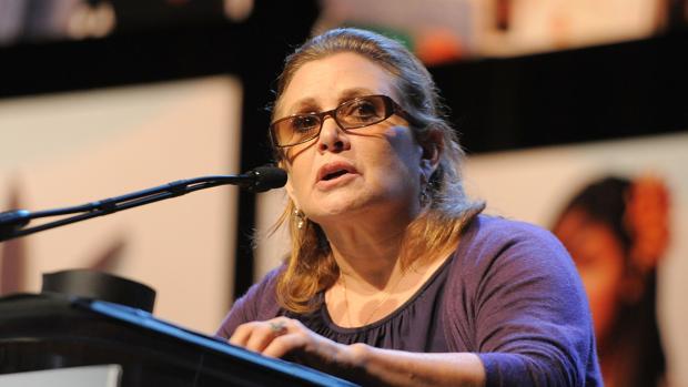 La actriz Carrie Fisher, durante una intervención pública