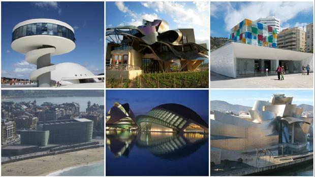 De izquierda a derecha y de arriba a abajo: Centro Niemeyer de Avilés, Bodegas del Marqués de Riscal (Álava), Centro Pompidou de Málaga, Kursaal (San Sebastián), Ciudad de las Artes y las Ciencias (Valencia) y Museo Guggenheim