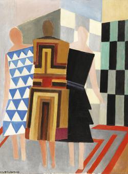 «Vestidos simultáneos (Tres mujeres, formas, colores)», 1925, de Sonia Delaunay