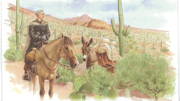 Kino viajaba a caballo, con una mula cargada de regalos