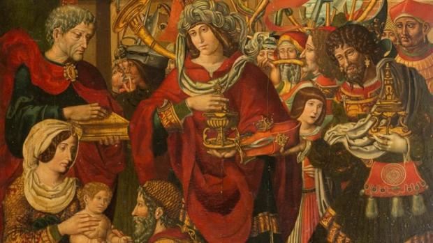 Detalle de la «Adoración de los Reyes Magos» del Maestro de Sijena subastada en Suiza