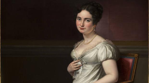 Detalle del retrato de doña María Sandalia del Acebal, esposa de Luis Usoz, obra de José de Madrazo, 1820