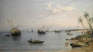 Hernán Cortés ordena dar al través sus navíos (1519), cuadro de Rafael Monleón y Torres, 1887.