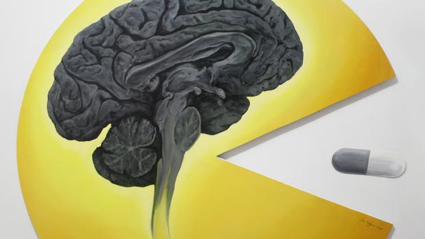 Detalle de «Apología de la drogadicción 2» (2017). Óleo sobre madera y cartón de 100 cm. de diámetro