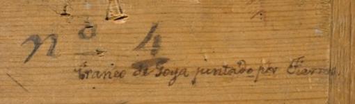 Inscripción en el cuadro de Dionisio Fierros