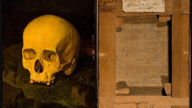 «Vanitas», atribuido a Dionisio Fierros y su reverso, con la inscripción: «Cráneo de Goya pintado por Fierros»