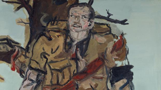 Detalle de «El pintor bloqueado», de Baselitz