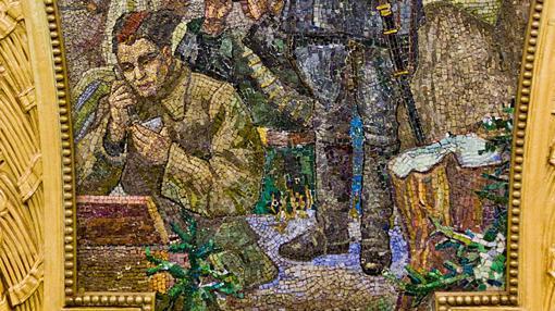 Detalle del mosaico «La lucha por el poder soviético en Ucrania»
