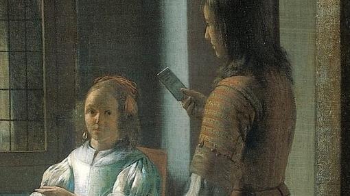 Detalle de «Hombre entregando una carta a una mujer en un recibidor» de Pieter de Hooch