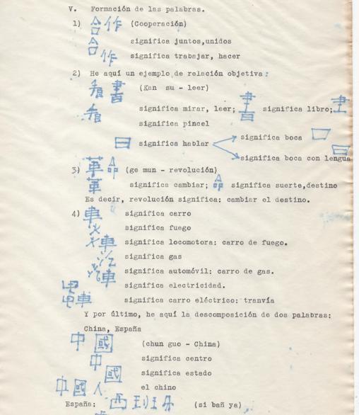 Una de las hojas del original de la obra, con las palabras chinas escritas por Arconada