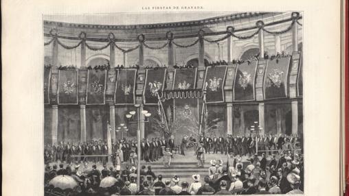Coronación de Zorrilla como poeta nacional en el palacio de Carlos V de Granada