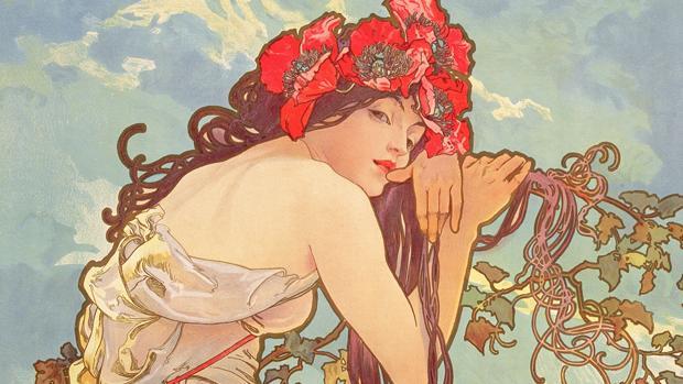 Detalle de una de las litografías de Alphonse Mucha