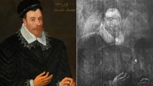 A la izquierda, obra de Adrian Vanson, a la derecha imagen del boceto que se ha descubierto con los rayos X