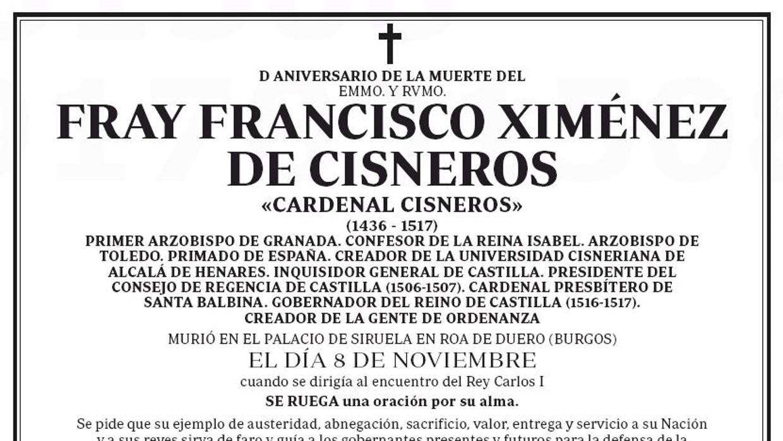 Una esquela en abc conmemora al cardenal cisneros en el for Esquelas funeraria el mueble melide