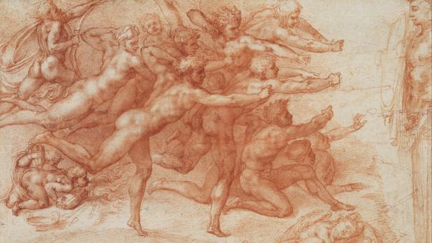 «Los arqueros», dibujo a sanguina de Miguel Ángel