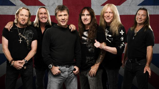Los integrantes de la banda británica Iron Maiden