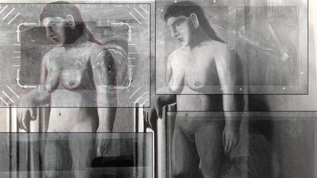 Montaje de las radiografías que muestran los fragmentos del «La pose encantada» en cuatro obras posteriores de Magritte