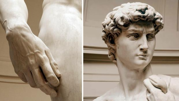 Dos detalles del «David», de Migeul Ángel