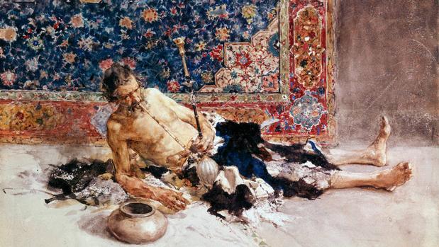 «El fumador de opio» (1869), acuarela de Mariano Fortuny