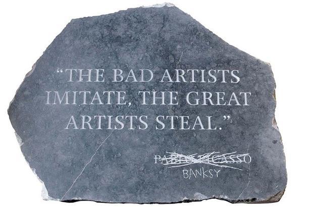 En efecto, el grafitero quiere equipararse a la altura de los grandes «ladrones», empezando por Picasso