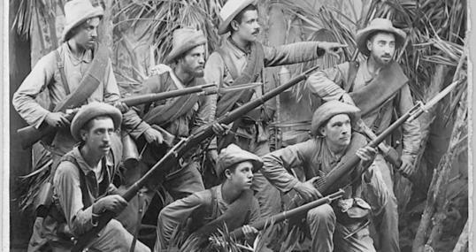 Soldados españoles en Cuba, en una image de 1895
