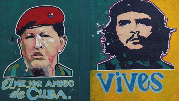 El icono del Che se emplea en Cuba para señalar a los amigos de la revolución, como Chávez