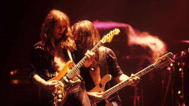 Clarke y Lemmy, durante una actuación de Motörhead en 1978