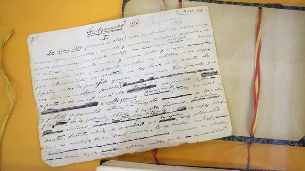 Una cuartilla de los «Episodios Nacionales» adquiridos por el Cabildo de Gran Canaria