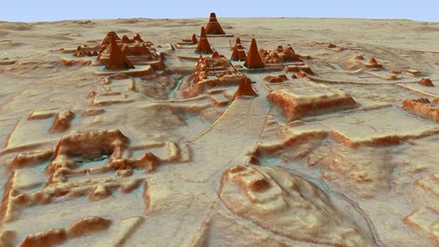 Vista en 3D de Tikal desde el sureste