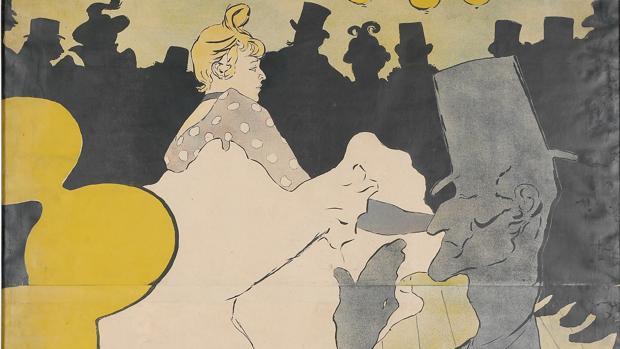 Detalle de «Moulin Rouge. La Goulou», de Toulouse-Lautrec