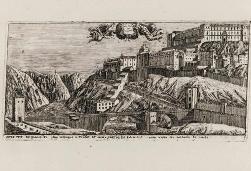 Vista de Toledo con el artefacto hidráulico escalando hacia el Alcázar