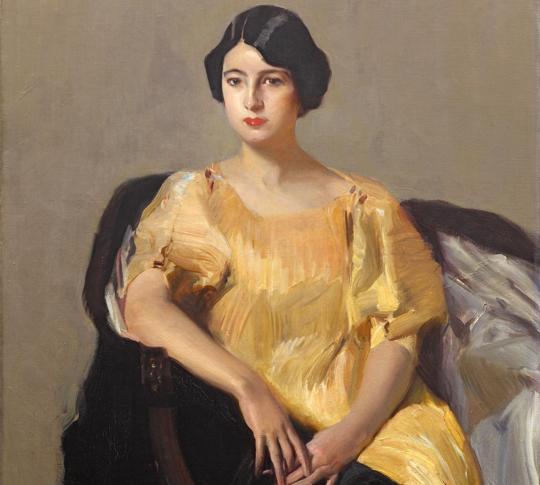 «Elena con túnica amarilla» (1909), de Joaquín Sorolla. Detalle
