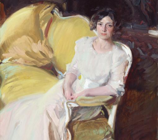 «Clotilde sentada en un sofá» (1910), de Joaquín Sorolla. Detalle
