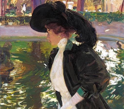«Clotilde paseando en los jardines de La Granja» (1907), de Joaquín Sorolla. Detalle